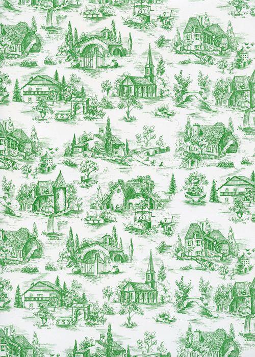 toile de jouy village de france vert 65x100 la th i re de bois. Black Bedroom Furniture Sets. Home Design Ideas