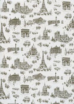 Toile de jouy - Monuments de Paris sépia et blanc (65x100)