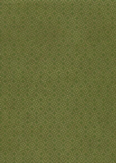 Lokta les rosaces or fond vert bronze (50x75)