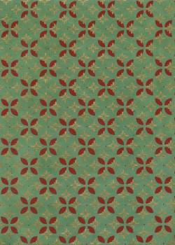 Lokta faience de fleurs fond vert tendre réhaussé or (50x75)