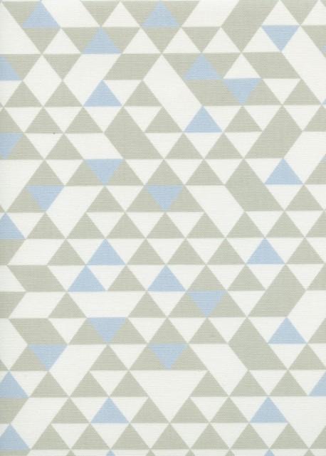 """""""Toile enduite"""" Géométrique gris et bleu (48x100)"""