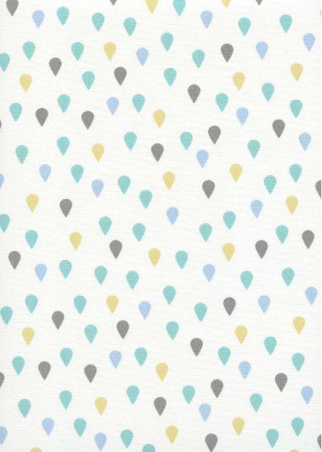 """""""Toile enduite"""" Les gouttes ambiance turquoise (48x100)"""