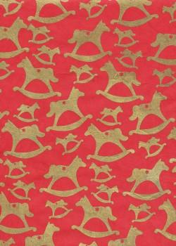 Lokta les chevaux à bascule or fond rouge (50x75)