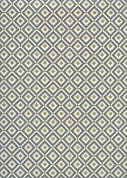 Les carrés gris et or fond toilé ivoire (48x68)