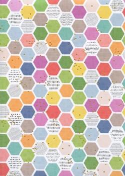 Nid d'abeille multicolore réhaussé or (48x68)