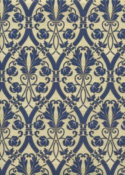 Entrelacs et arabesques bleues fond doré (70x100)