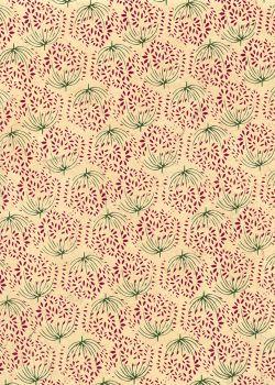 Lokta les pissenlits bordeaux fond beige (50x75)