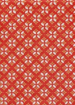 Lokta mosaique de fleurs or et argent fond rouge (50x75)
