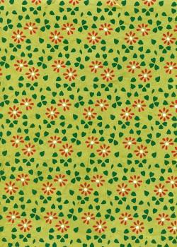 Lokta parterre de fleurs rouges et vertes fond anis (50x75)