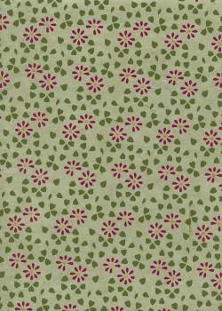 Lokta parterre de fleurs bordeaux fond tilleul réhaussé or (50x75)