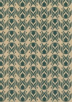 Lokta ornementation vert bronze fond ficelle (50x75)