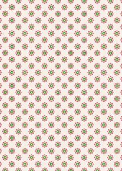 Semis de petites fleurs stylisées roses et vertes (70x100)