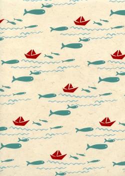 Lokta poissons et bateaux fond naturel (50x75)