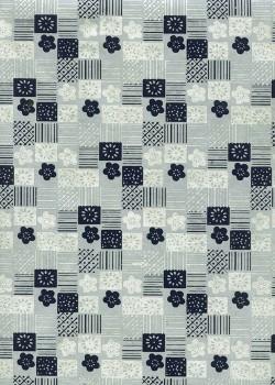 Lokta patchwork et fleurs ambiance gris bleu (50x75)