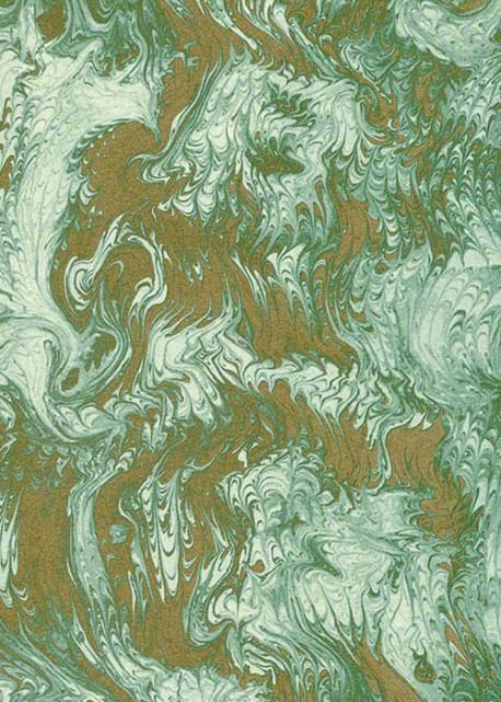 Marbré peigné vert et or (70x100)