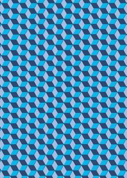 """Perspective"" cube bleu (70x100)"