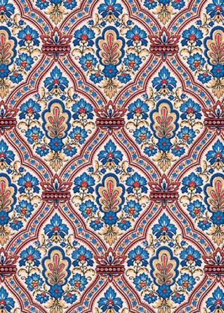 Brocart rouge et bleu (70x100)