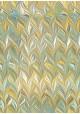Papier marbré vert et jaune (70x100)