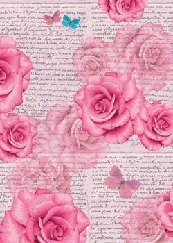 Ecriture aux roses et papillons bleus (70x100)