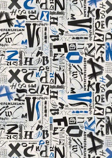 Chiffres noirs et bleus effet vieilli (70x100)