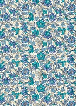 Venise fleur - bleu réhaussé or (70x100)