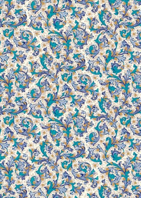 Venise - bleu et vert réhaussé or (70x100)