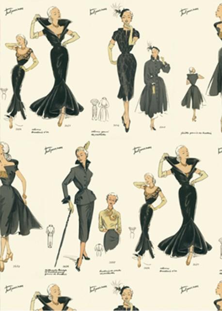 La mode féminine 1950 réhaussé or(70x100)