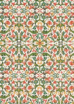 Venise - rouge orange et vert réhaussé or (70x100)