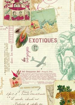 Ecritures et voyages exotiques réhaussé or (70x100)