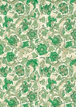 Venise fleur - vert rehaussé or (70x100)