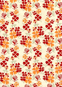 Lokta bouquet rouge et orange fond naturel (50x75)