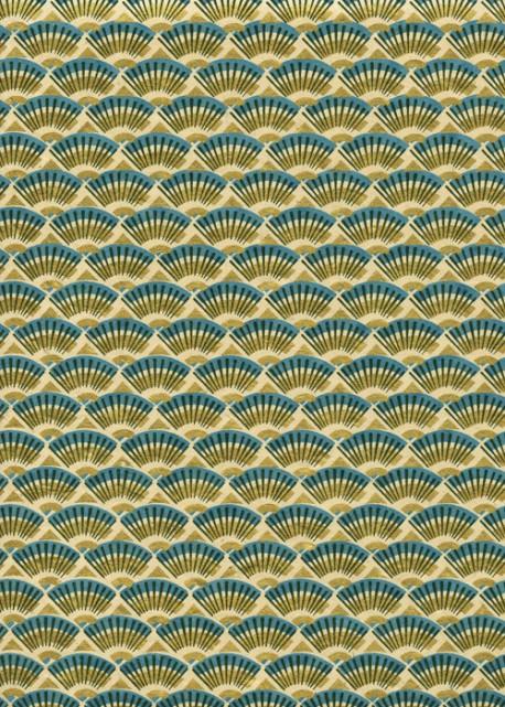 Lokta ombrelle bleue et or (50x75)