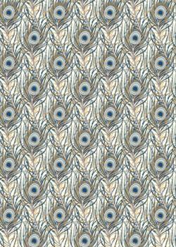 Venise plumes de paon - tendance bleue réhaussées or (70x100)