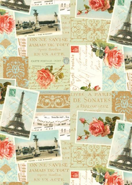 Cartes postales de paris aux roses rouges réhaussées or (70x100)