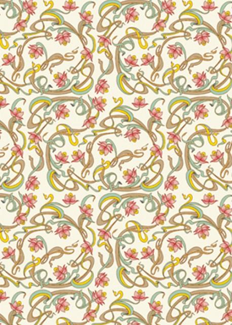 Venise entrelacs - rose réhaussé or (70x100)