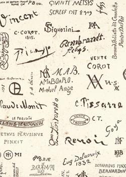Signatures marron de peintres célèbres (70x100)