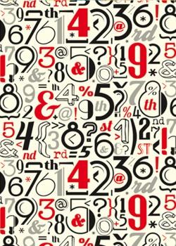 Planche de chiffres et lettres noires et rouges (70x100)