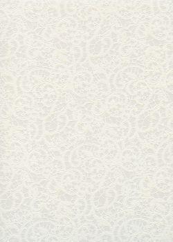 """Simili cuir """"Damas"""" dentelle mat blanche"""