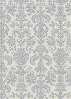 Motif baroque argenté fond gris perle (70x100)