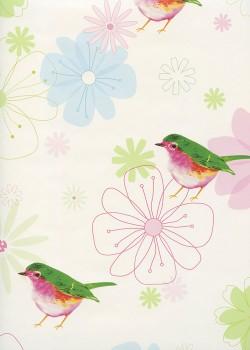 Oiseaux et fleurs stylisées (68x98)*