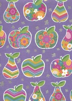 Pommes et poires ambiance parme réhaussé argent (68x98)*