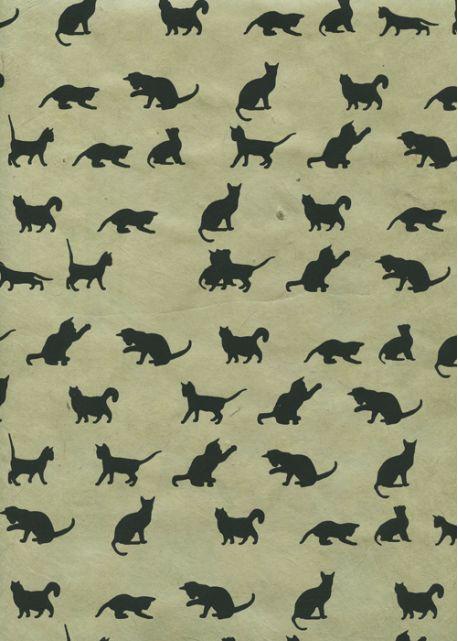 Lokta les chats noirs sur fond vert tendre (50x75)