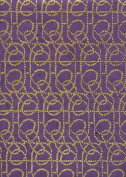 Lokta lignes de pointillés or fond violet (50x75)