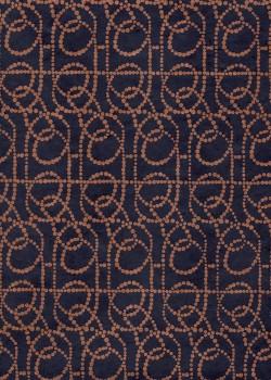 Lokta lignes de pointillés cuivre fond marine (50x75)