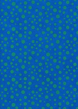 Lokta les pois verts fond bleu turquoise (50x75)