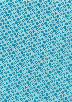 Lokta les cercles turquoises et traits argent fond bleu clair (50x75)