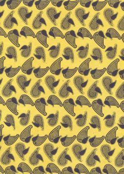 Lokta cachemire violet fond jaune (50x75)