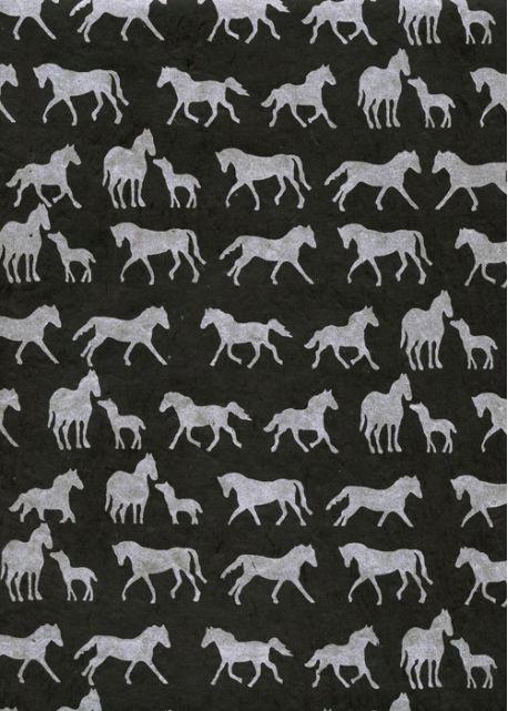Lokta les chevaux argent fond noir (50x75)
