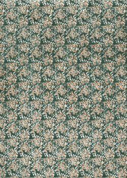 Lokta arabesque argent et cuivre fond vert foncé (50x75)