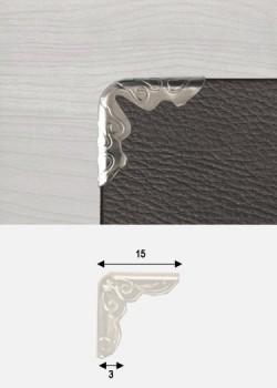 Angles embossés argent (15x15mm) - Lot de 25